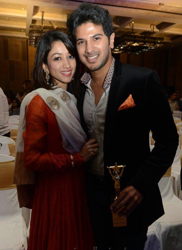 Mammootty Son Dulquar Salman with wife Amal Sufia at Audi Ritz Icon Awards 2012